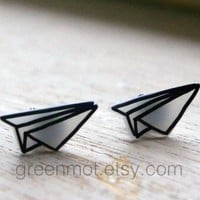 Origami Plane Earrings