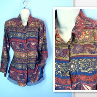 Vintage Silk Blouse / 1980's Autumn Pure Silk Blouse Shirt