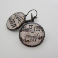 Music Earrings, Sheet Music Earring.. on Luulla