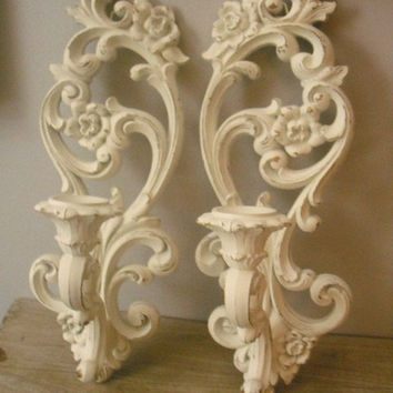 Wall Sconces Shabby Chic : 2 upcycled Scrolly Wall Sconces Romantic from MamaLisasCottage on