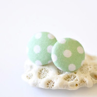 Fabric Button Ear Posts - Mint & White Polka Dots