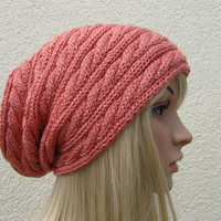 Coral Lipstick Hand Knit Hat, Slouchy Hat in Coral Lipsticks, Peach Back to School Hat