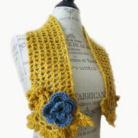 Crochet Lace Scarf Scarflette Neck warmer-Mustard Yellow french Blue-Spring Summer Accessories-Taste Test Colors