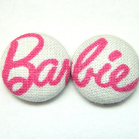 Button Earrings Pink- White Barbie Kitsch Kawaii