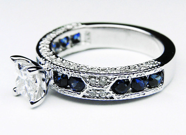 Engagement Ring - Princess Cut Diamond Vintage Engagement Ring with Blue-Sapphire Accents - ES739PR