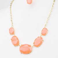 Tracking Treasure Neon Stone Necklace in Orange -  $24.00 | Daily Chic Accessories | International Shipping