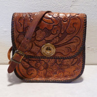 Vintage Hand Tooled Leather Purse - Small - Cute, Cute, Cute