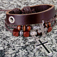 Leather cuff wristband for men women brown Leather   wood  Bead Metal  cross with adjustable Rope