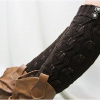 LW18 chocolate crochet leg warmer with 2 buttons