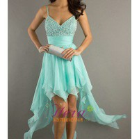 Unique Designer's Spagheti Strap Blue Chiffon Beaded Hi-low Party Dress Prom Dress