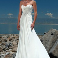 Beach A-Line Sweetheart Beaded Bodice Chiffon Ivory Wedding Dress Style RD1068