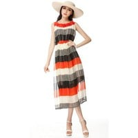 Sweet Beach Striped Chiffon Long Dress - Designer Shoes|Bqueenshoes.com