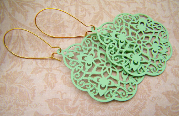 Mint Green Jade Jadeite Earrings. Pastel Green filigree Earrings. New Color.