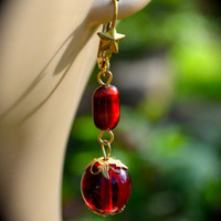 Regal in Red Earrings handmade unique red and brass jewelry gift