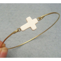 White Turquoise Cross Brass Bangle Bracelet