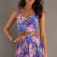 Short Sleeveless Print Dress