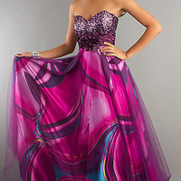 Strapless Print Prom Dress