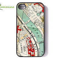 iPhone 4 Case - Vintage Paris Map -- cover for iPhone 4 and iPhone 4s