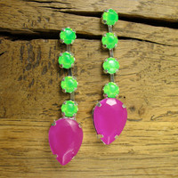 Electric Neon Grape and Tropical Green Crystal Drop Earrings