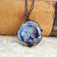 Steampunk Globe Pendant - Blue Earth Necklace with Gears - Steampunk Jewelry - Made to Order