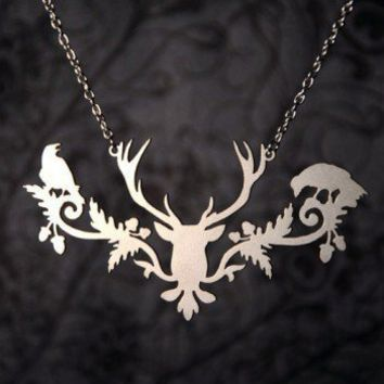 Handmade Gifts | Independent Design | Vintage Goods Victorian Raven & Deer Necklace - Girls