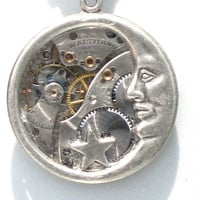 Steampunk - STARS and MOON - VIintage Watch Movement - Wheels and Cogs- Neo Victorian - Designed By GlazedBlackCherry