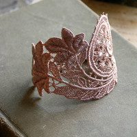 andra lace cuff blush by whiteowl on Etsy