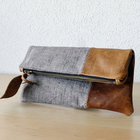 Leather Clutch in Brown Cow Leather and European Washed Linen with Herringbone Pattern - Indie Patchwork Series
