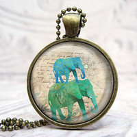 Elephants & Script Vintage Bronze and Domed by Lizabettas
