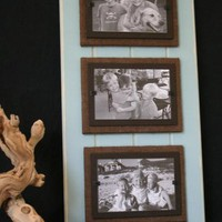Triple Blue Distressed Wood Frame