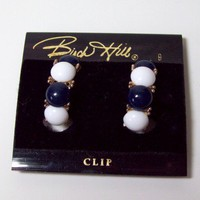 Vintage Birch Hill Half Hoop Navy and White Earrings