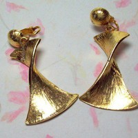 Vintage Brushed Goldtone Twisted Ribbon Earrings