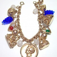 Vintage Multicolor Charm Bracelet