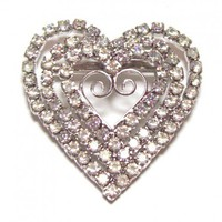 Vintage Triple Heart Clear Rhinestone Brooch
