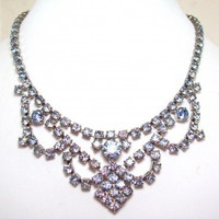 Vintage Powder Blue Rhinestone Necklace