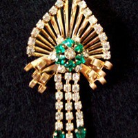 Vintage M &amp; S Goldtone Green and White Rhinestone Brooch