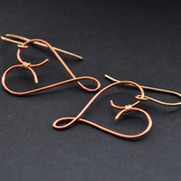 Copper Heart Earrings, Gold Fill Hearts Earring, Mixed Metal Wire Jewelry, Bohemian Celtic Fashion
