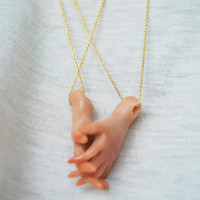 Interlocking Hand Pendant Necklaces