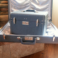 Lovely VINTAGE SAMSONITE LUGGAGE Set Hardside Traincase and Suitcase Faded Denim Blue Retro 1960s Suit Case Train Case with Key Mirror Tray