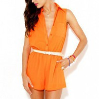Collared Open Back Romper in Orange