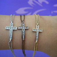 sideways horizontal cross bracelet