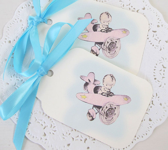 Airplane Birthday Party Favor Tags: Baby Gift Tags