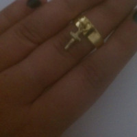 Boho Cross Charm Mid Finger/ Knuckle Midi Ring