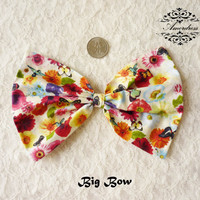 "FABRIC BOW Craft Supplies BIG 7""x5"" Navy Bow for Hair Clip, Head Piece, Headband, Bow Tie, Scrapbook, Shoe Clip, Etc..."