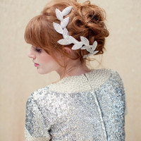Bridal headpiece, beaded leaf clip, bridal headband, grecian, Cleo Ships in 1 Month