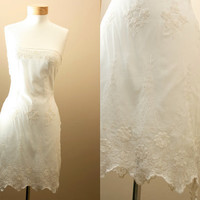Small / Strapless, Crochet, Lace, off - white, 1920's inspired, Formal, Bridal, Wedding, Lovely Dress