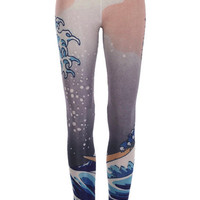 Big Wave Print Leggings(Arrival on August 17th) [ALYD0008] - $23.99 :