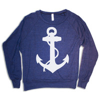 Womens ANCHOR Tri-Blend Pullover - american apparel S M L (heather navy blue)