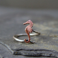Seahorse adjustable ring, copper beach jewelry, ocean jewelry, gifts for her, gifts under 40.00, dainty jewelry