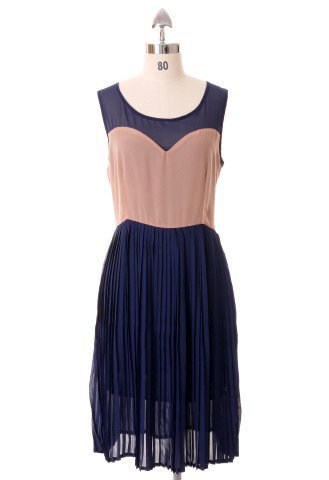 Heart Shape Navy Pleated Dress - Retro, Indie and Unique Fashion
